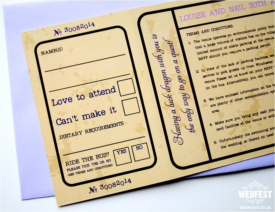 cinema movie ticket wedding invitations