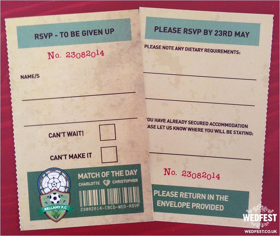 vintage football ticket wedding invites