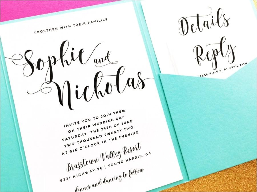 pocketfold wedding invitation pocket fold wedding invitation invite pocket invitstion wedding invite tiffany blue wedding invitation