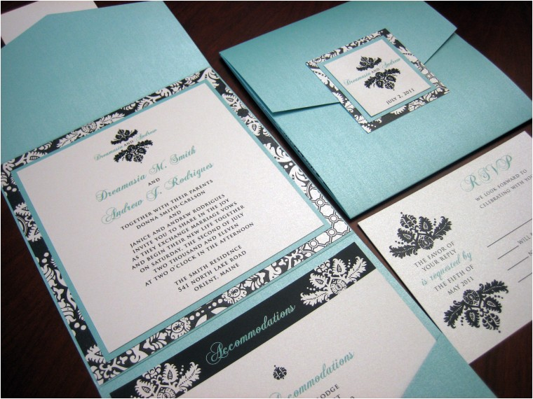 tiffany blue black damask wedding invitation 5x5 pocket fold style