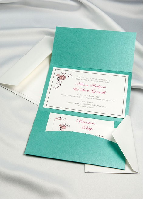 tiffany blue horizon pocket folder invitation