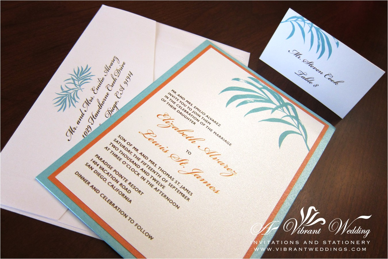 tiffany blue orange wedding invitation
