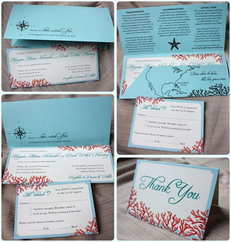 tiffany blue teal red beach coral wedding invitations with pocket folders