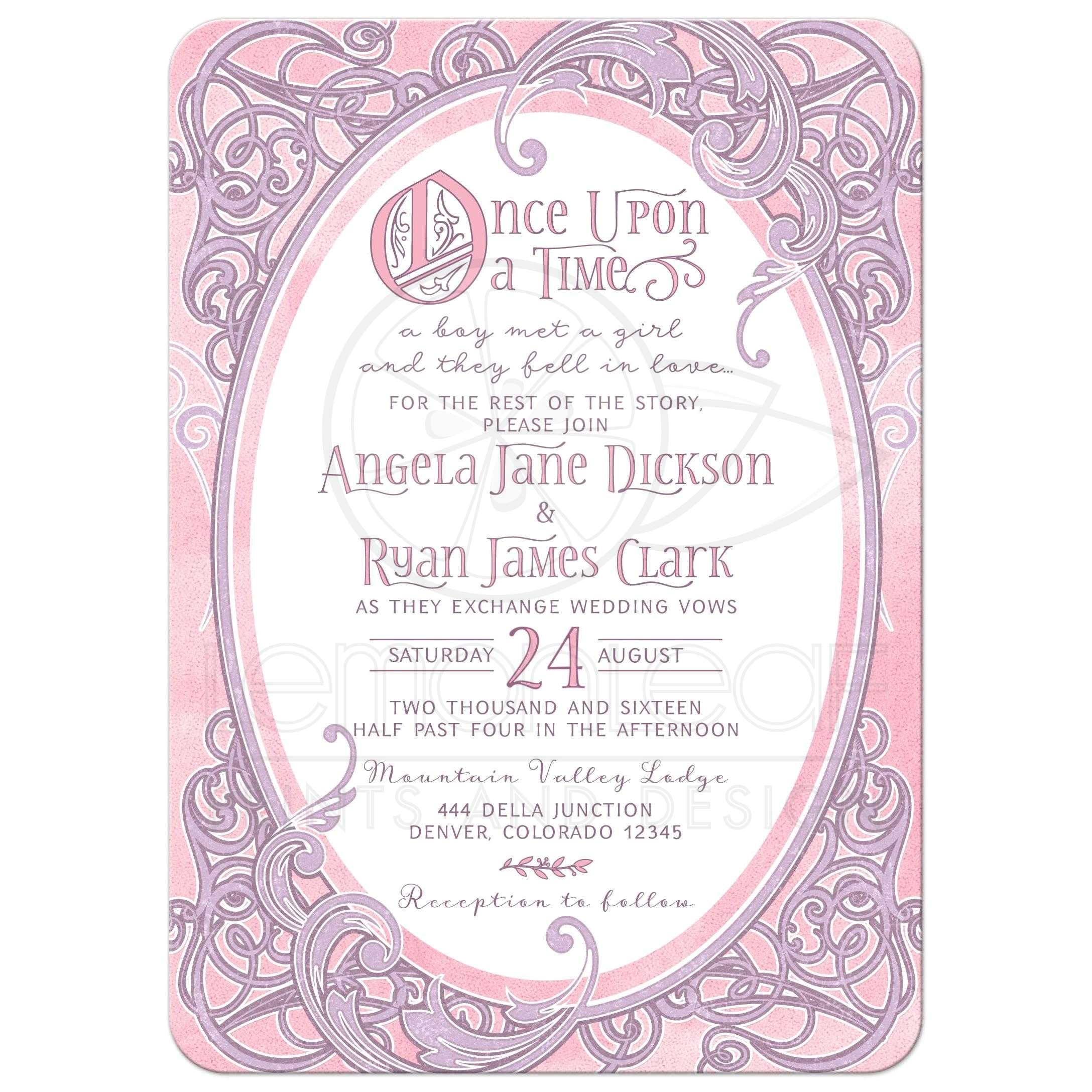 pink purple fairy tale wedding invitation once upon a time ornate frame