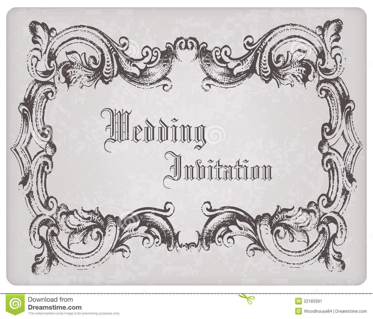 stock image retro wedding invitation postcard frame image22183391