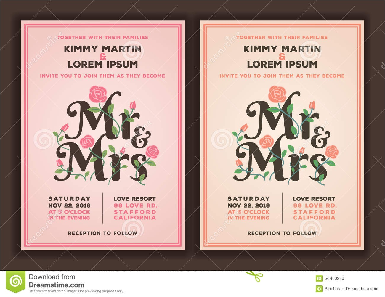 stock illustration mr mrs title flower wedding invitations template peach old rose color tone invitation vector illustration image64460230