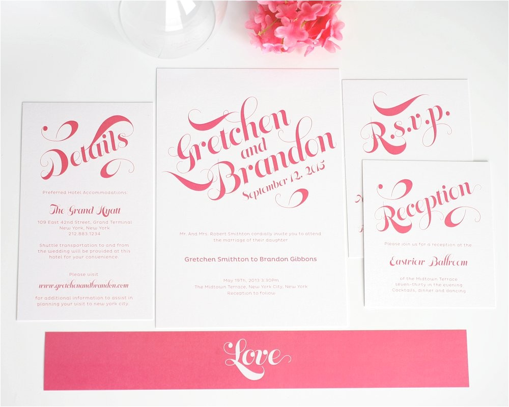 pink wedding invitations with large names