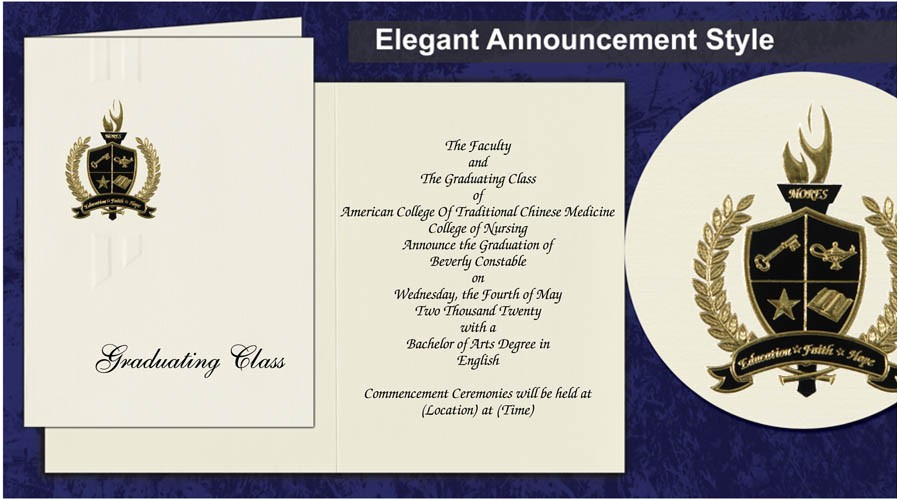 Traditional Graduation Invitations American College Of Traditional Chinese Medicine