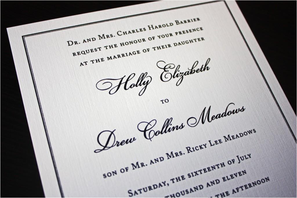 black border on cream thermography wedding invitations