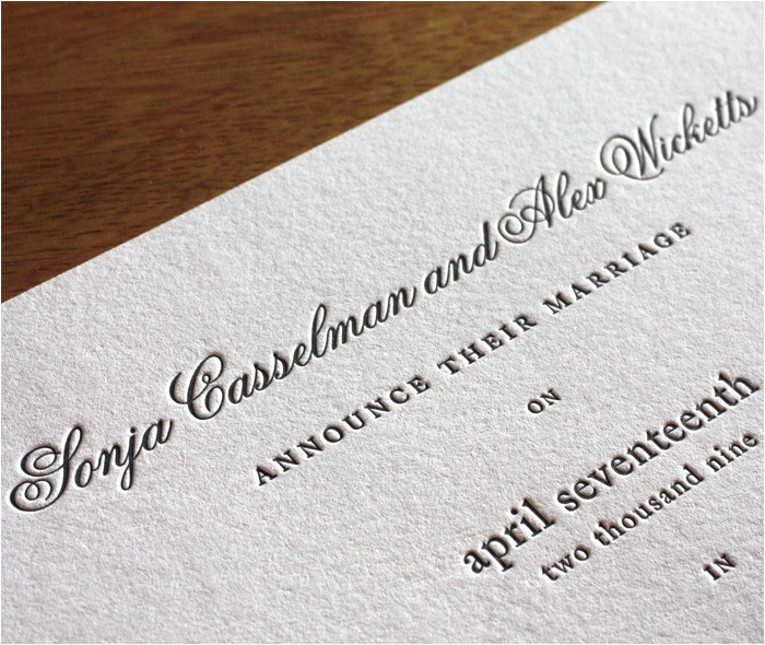 letterpress wedding invitation font choices