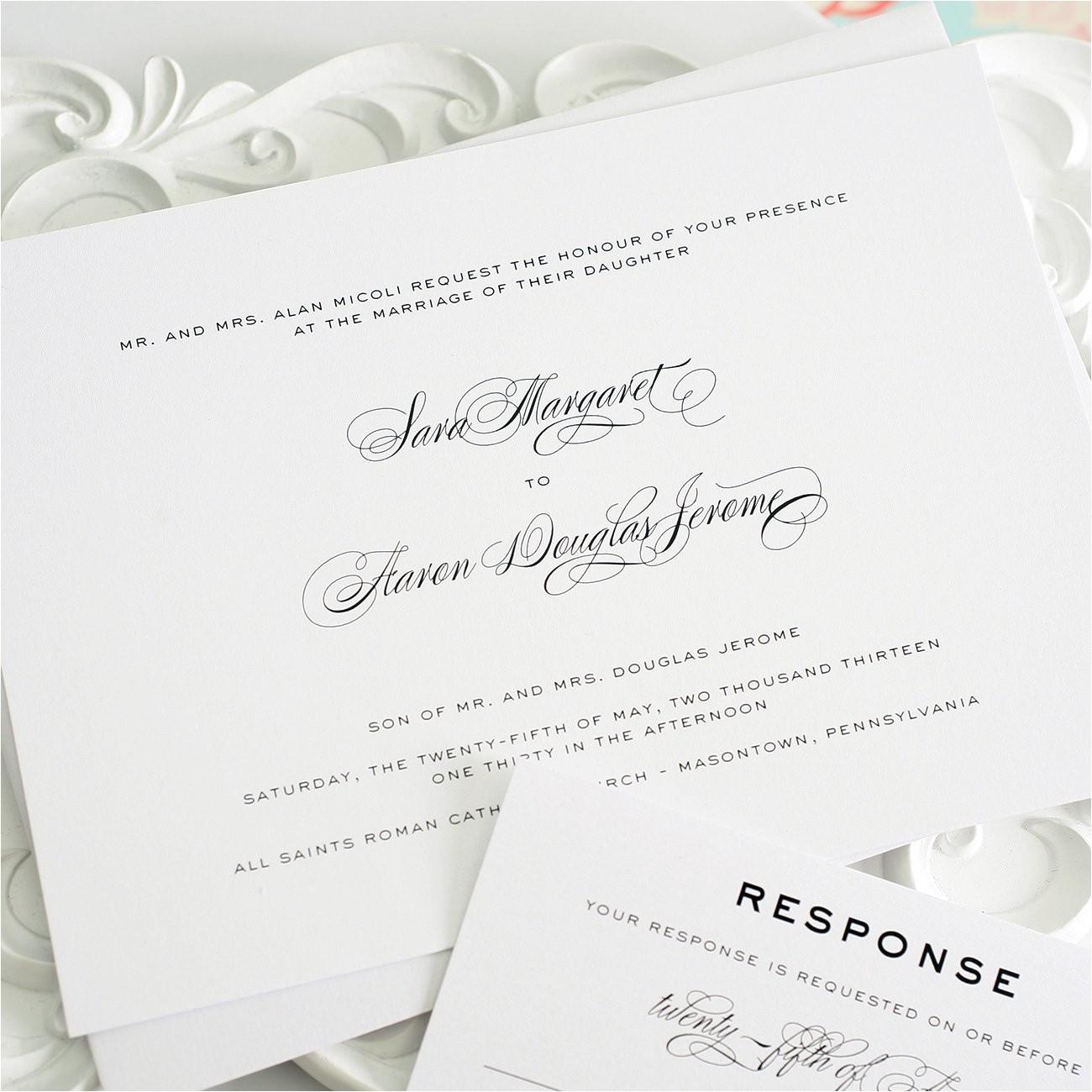wedding invitations timeless script