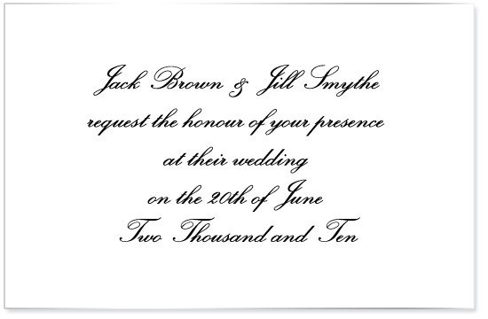 wording on invitations for a very non traditional wedding