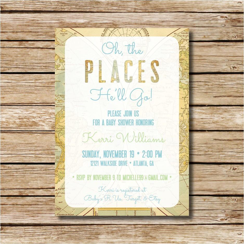 baby shower invitation travel themed