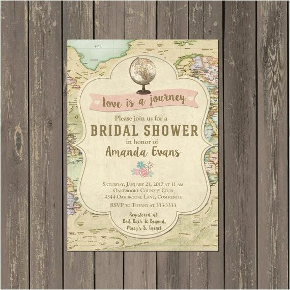 travel bridal shower invitations decor ideas