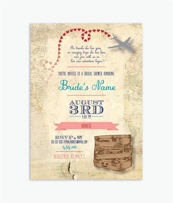 travel wedding shower invitation