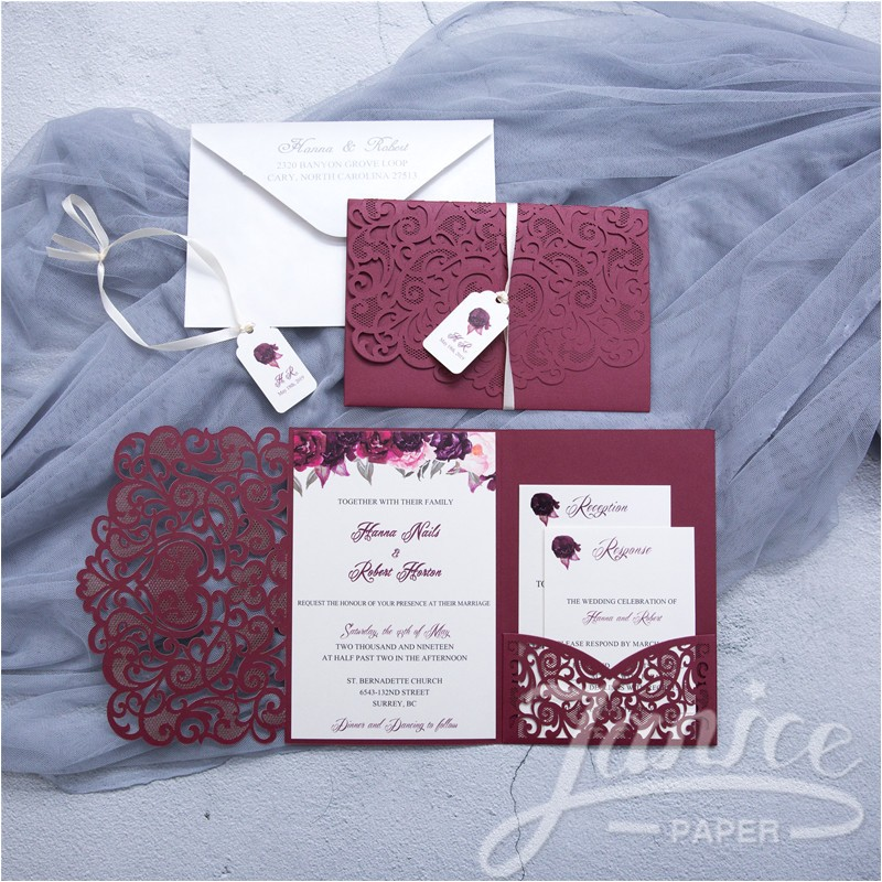 graceful love heart trifold laser cut pocket wholesale wedding invitation wpfc2128 p 609