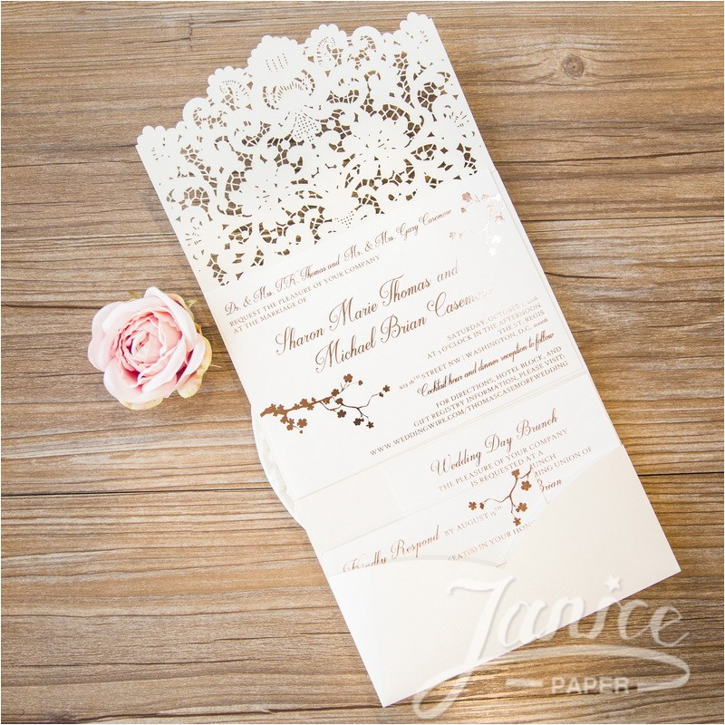 graceful tri fold laser cut pocket wholesale wedding invi