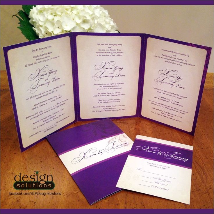 tri fold wedding invitations template