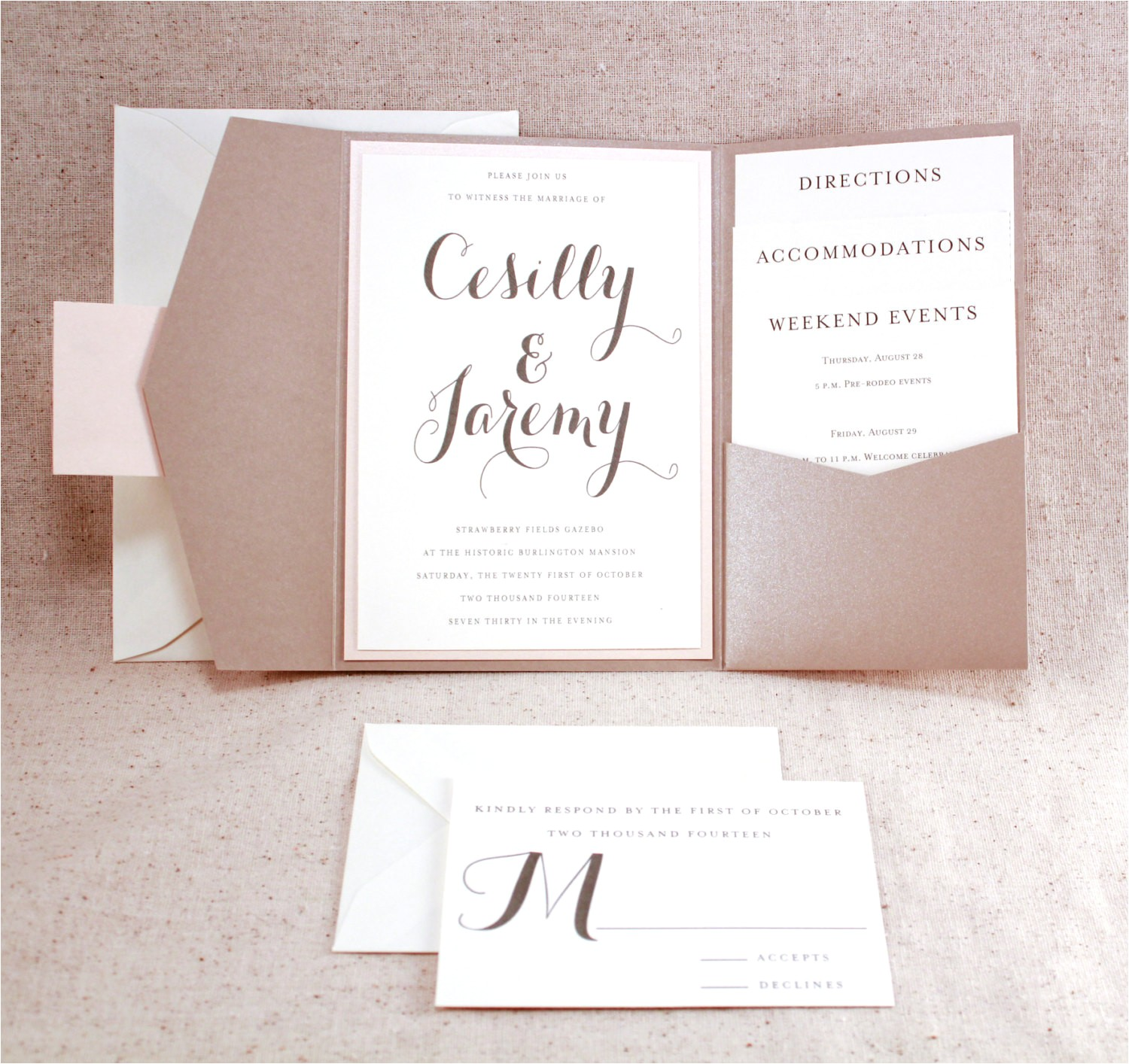 tri fold wedding invitations with pocket