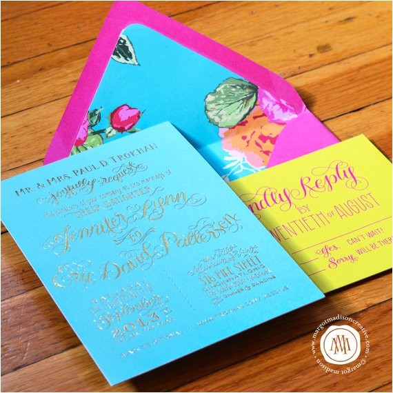 turquoise hot pink and yellow gold foil