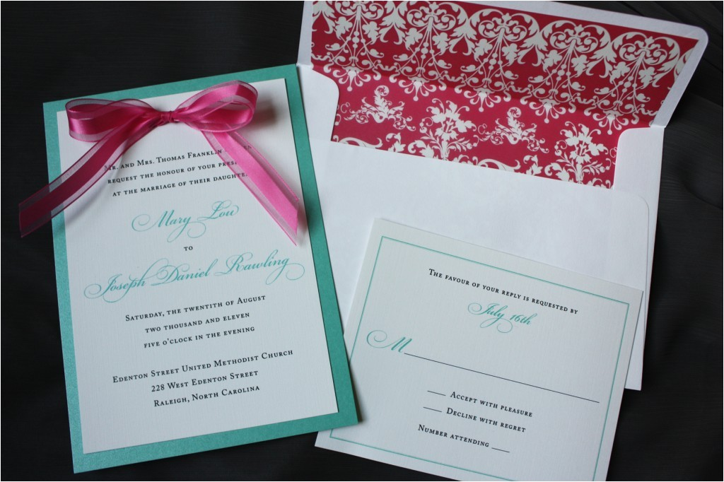 Turquoise and Hot Pink Wedding Invitations Lagoon Turquoise White Wedding Invitations with Hot Pink