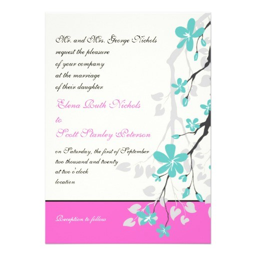 magnolia flowers turquoise hot pink wedding invitation 161829163730528192