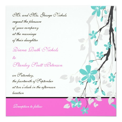 Turquoise and Hot Pink Wedding Invitations Magnolia Flowers Turquoise Hot Pink Wedding Invitation
