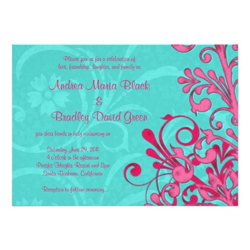 turquoise and pink floral wedding invitation 161660968534826377