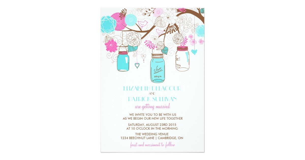 turquoise hot pink mason jars wedding invitation 161941402063682844