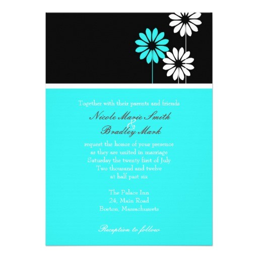 black and turquoise daisy wedding invitation 161498341133896849