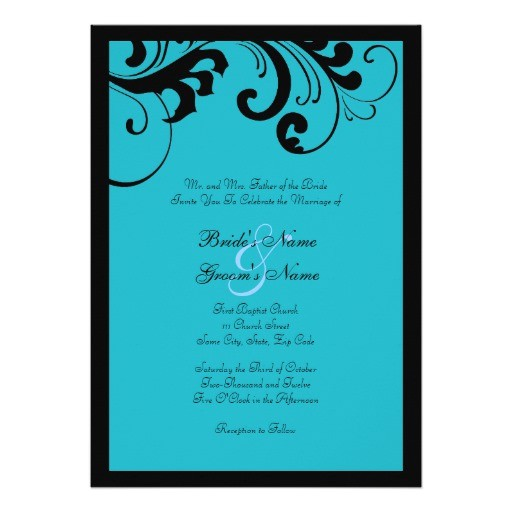 black turquoise swirls frame wedding invitation 161053879535828584