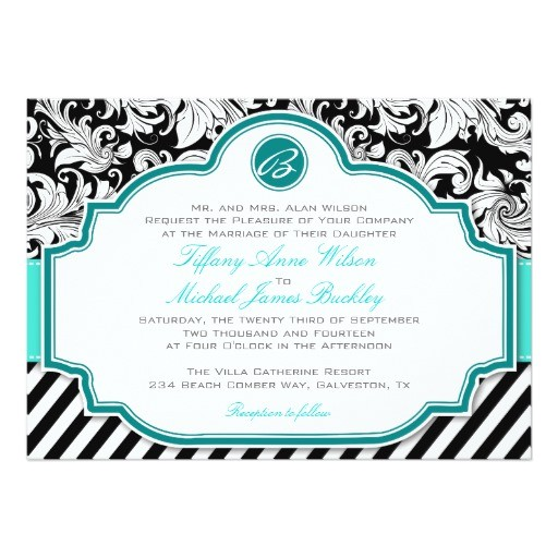 black white damask turquoise wedding invitation 161501299381822611