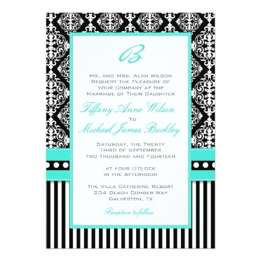 black white damask turquoise wedding invitation 161809642102423330