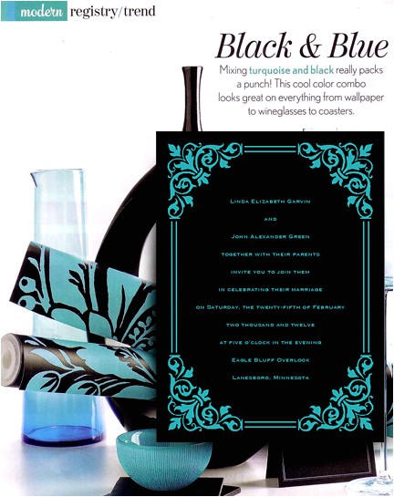 modern black and turquoise wedding invitations