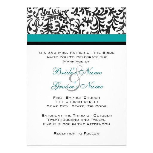 turquoise and black wedding invitation 161066462635477184