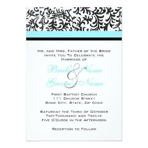 turquoise and black wedding invitation 161363329891239612