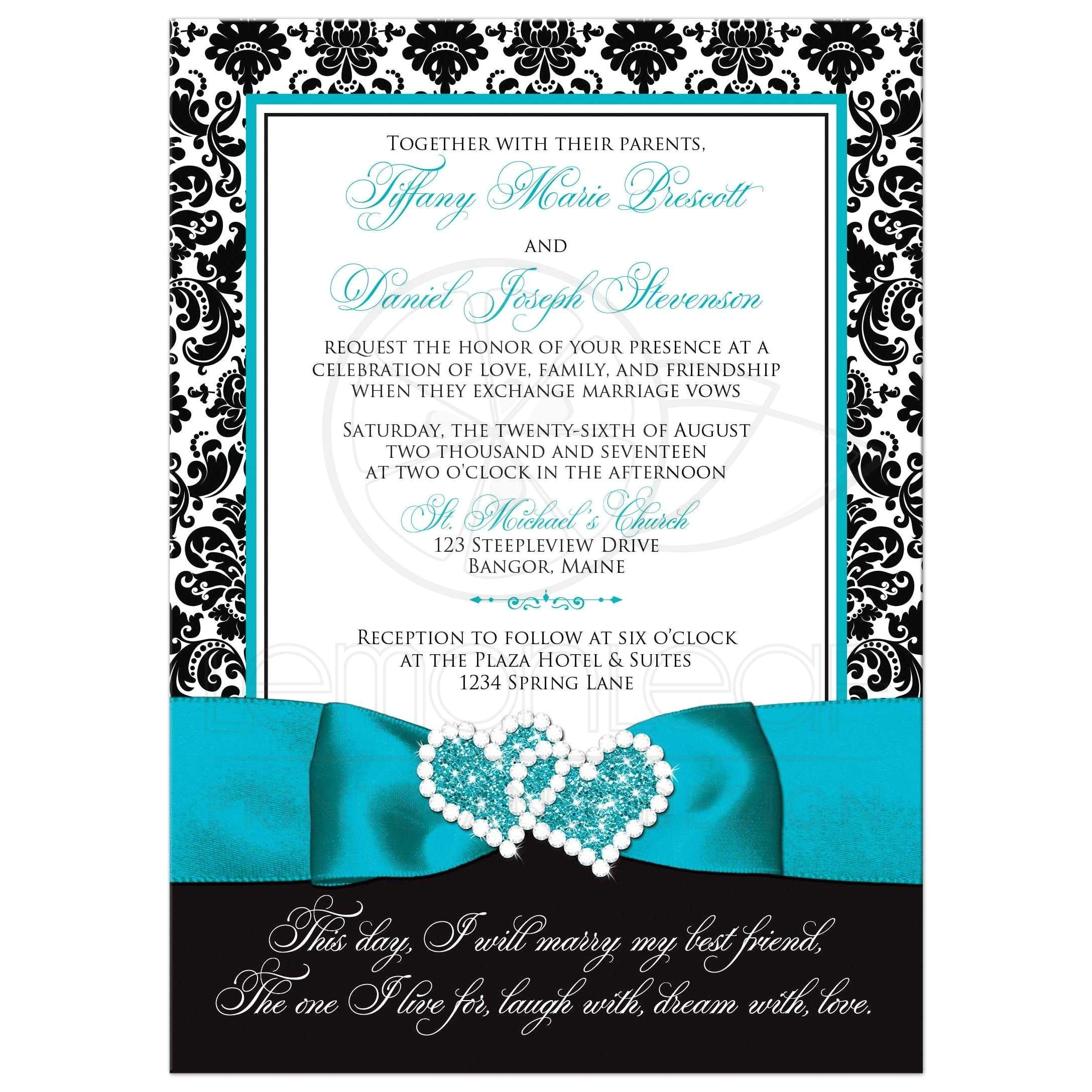 wedding invitation photo optional black and white damask printed turquoise ribbon and double hearts