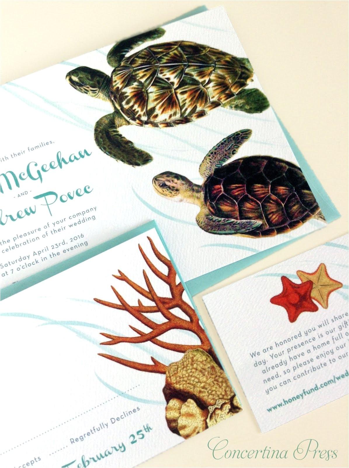 sea turtle aquarium wedding invitations