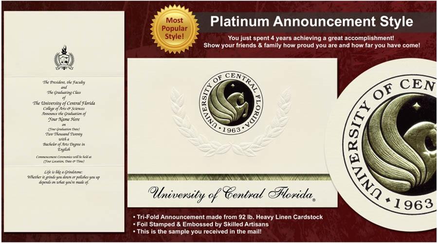university of central florida graduation announcements