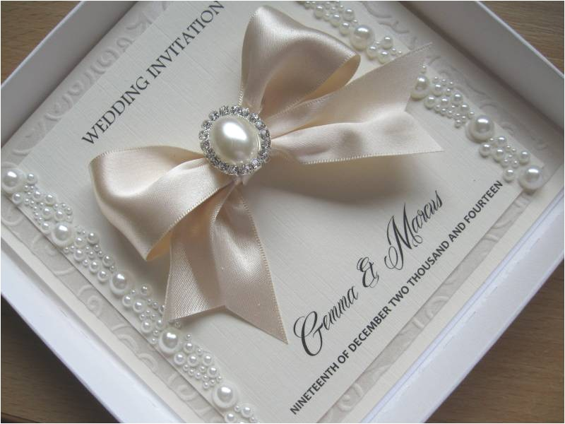 luxury pearl wedding invitation satinpearl embellished with without box 8291 p