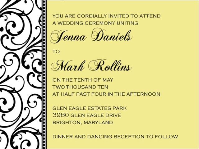 sample wedding invitations template