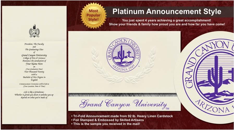 grand canyon university graduation announcements