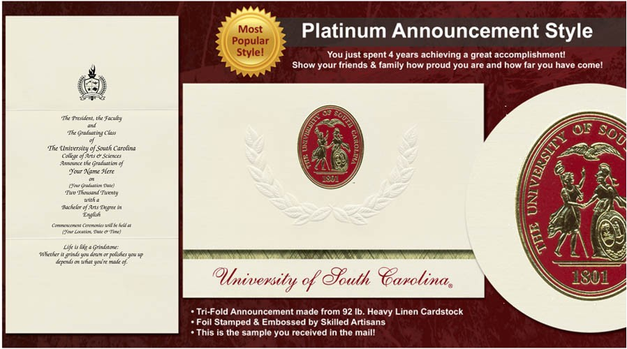 university of south carolina graduation announcements