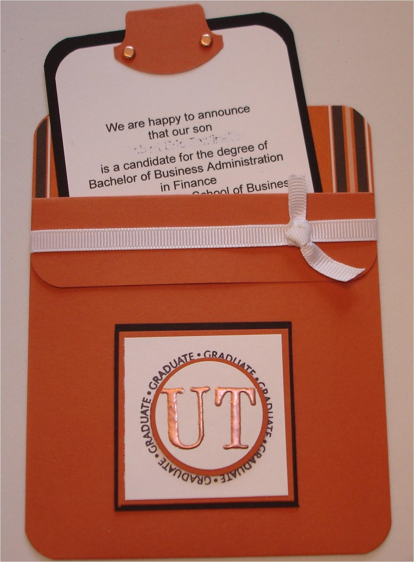 a pocket card college graduation announcement for ut