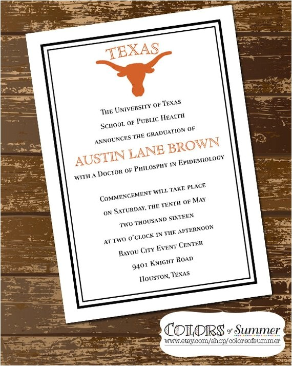 longhorn graduation invitation texas