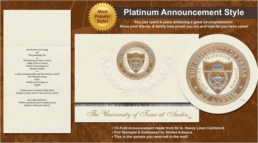 university of texas at austin graduation announcements
