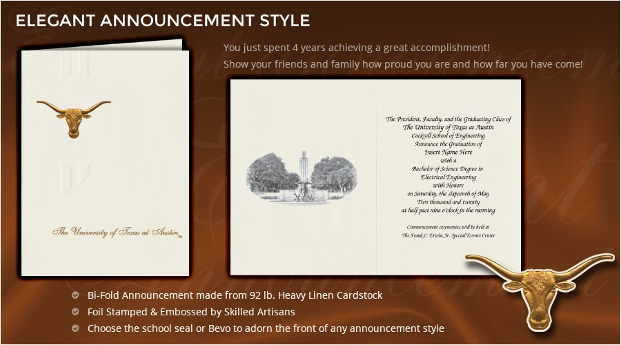 Ut Graduation Invitations University Of Texas at Austin Graduation Announcements