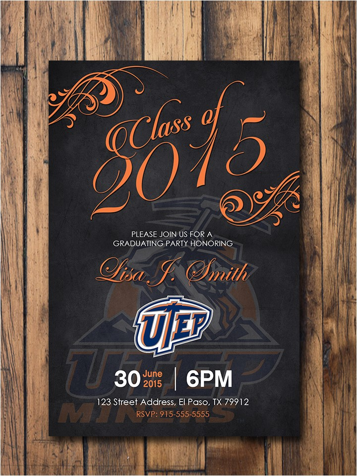 utep graduation invitations