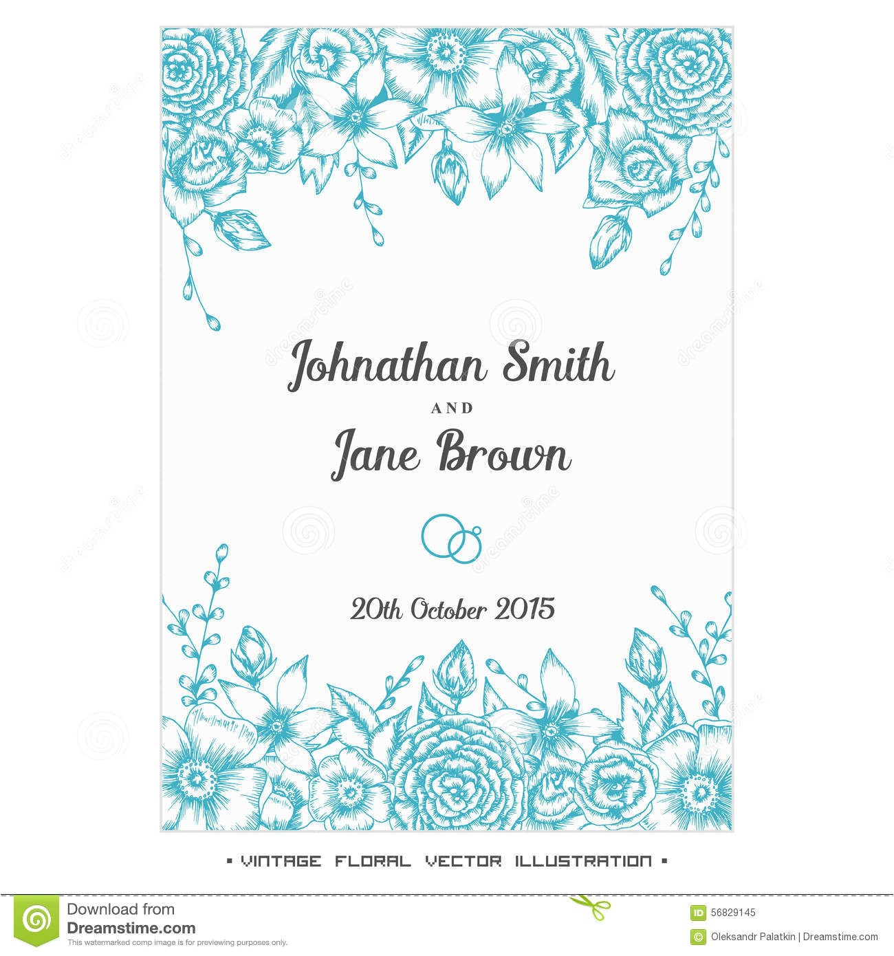 stock illustration vector vintage floral wedding invitation hand drawn flower border image56829145