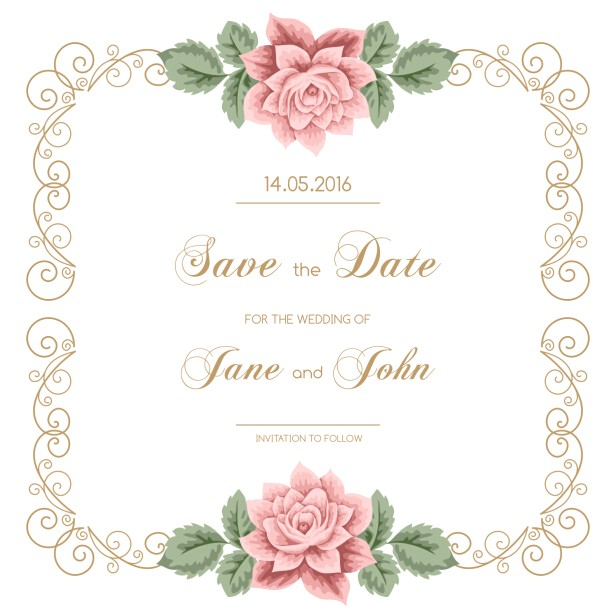 Vector Flowers for Wedding Invitations Vintage Flower with Wedding Invitation Vector 04 Vector